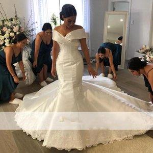 2021 Simple Mermaid Wedding Dresses Off the Shoulder V-Neck Satin Bridal Gowns Plus Size Wedding Dress Vestidoe De Noiva