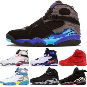 Venta caliente 8 zapatos de baloncesto aqua para hombre 8s Playoff Aqua Negro Tres turba Día de San Valentín Chrome Cuenta regresiva Paquete Hombres Deportes Zapatos de entrenador al aire libre