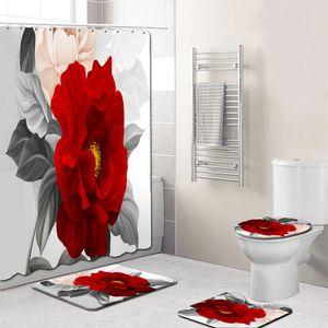 4Pcs Elegant Flowers Pattern Shower Curtain Toilet Cover Mat Non-Slip Rug Set Bathroom Waterproof Bath Curtain with 12 Hooks