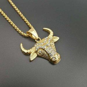 Jewelry Hop Rapper Style Bull Head Pendenti in acciaio Collane per Hip Uomo Color Party in acciaio inox Tau Personalità 316L Regalo d'oro QFixG