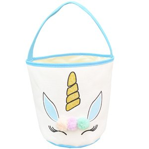 Pascua brillo unicornio cesta bolsas de conejito bolsas de peluche pom pom dibujos animados lienzo bolsa de asas de huevo niños caramelos de mano bolso búbito llama126