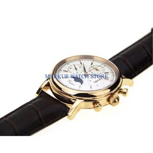 Relojes de pulsera Sugés Reloj Mecánico Cronógrafo Mecánico 1963 Vestido Tianjin Movimiento ST1908 Dial blanco chapado en oro