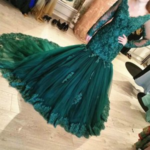 Mermaid Dark Green Evening Dresses Classic Long Sleeve V Neck Lace Tulle Appliques Prom Dresses Pageant Gowns Custom Made