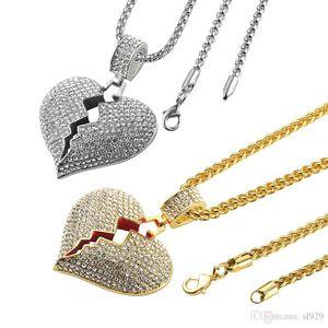 Мода Новый дизайнер разбитые сердечные ледяные кулон ожерелье любви очарование кристалл горный хрусталь золото и серебряные мужчины и женщины хип-хоп ювелирные изделия