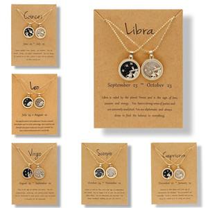 12 Collane di costellazione per le donne uomini catena d'oro catena zodiacale segno tondo collana pendente collana coppia gioielli regalo di compleanno w-00595