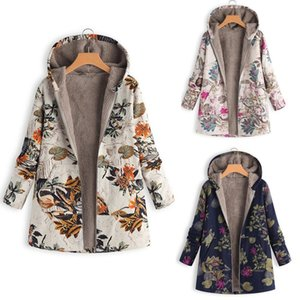 Coat 2019TOP Hot Fashion Womens Winter Warm Outwear Floral Print Hooded Pockets Long Sleeve Vintage Oversize Jackets For Women