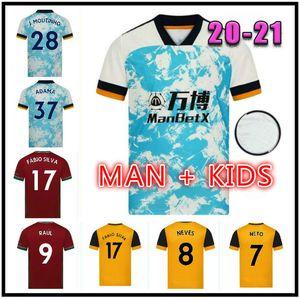 2021 Wölfe Fußball-Trikots Semedo Raul Neto 20 21 Wanderers J.otto Podence Football Hemden Adama Herren Kinder Kits Uniformen