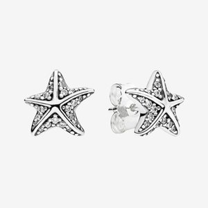 Authentic 925 Sterling Silver Sparkling Starfish Stud Earring Summer Jewelry for Women Girls Gift Earrings with box