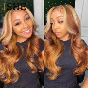Highlight кружева передние волосы волосы парики для волос мед блондинка волна тела парик бразильский омбре коричневый реми предварительно сорванный T кружевной роль для женщин