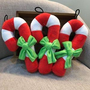 Jouets de chien Jouets Béquille de Noël Forme Peluche Biguant Chew Sound jouet pour chiot chat formation produits chien grinçant jouets HWD3075