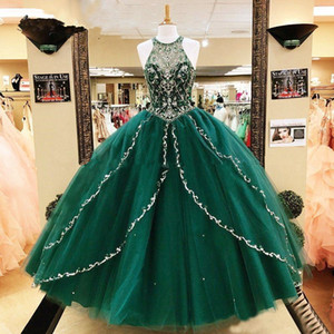 Vintage Dark Green Princess Ball Gown Quinceanera Dresses Major Beading Crystals Full Length Sleeveless Sweet 16 Prom Party Dress 15 Anos
