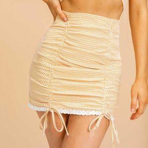 Plaid Yellow Bodycon Skirt Ladies Casual 2020 High Street Mini Gonne da donna Stile sexy Stile Coreano Stile corto Gonna