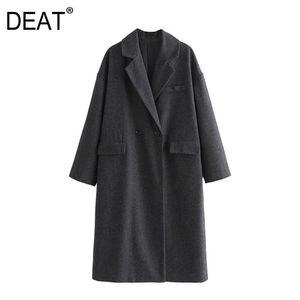 [DEAT] 2021 Spring Autumn New Fashion Tide Loose Fit Turn-down Collar Lattice Long Sleeve Temperament Women Coat 13W005