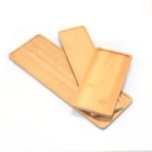 1pc Wooden Bamboo Tray Plant Flower Pot Saucer Rectangle Shape Succulent Cactus Holder Pot Tray Simple Elegan Design Home Decor C0125