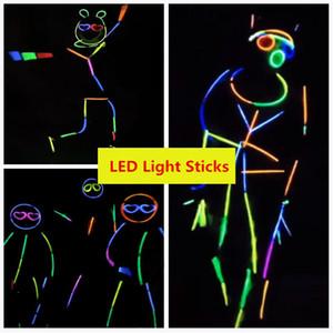 Multi Colors LED Glow Sticks 20cm Bracelet Neon LED Flashing Light sticks with connectors Family Reunion Vocal Concert use Flash glow Sticks