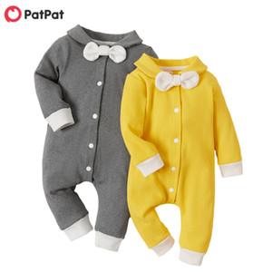 Patpat 2020 nouveau printemps et automne bébé garçon / fille style style bowknot décor à manches longues Jumpsuit j1203
