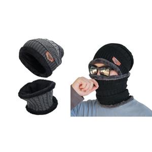 2шт мужской зимней шапки и шарф набор теплых трикотажных колпачков с шарфом унисекс