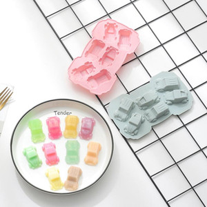 Silicone molds car cartoon cute chocolate cookie candy cake pudding making mould tray 6 cavities silica kitchen baking tool HWD3283
