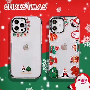 Christmas Cartoon Couple Fun Cool Cute Silicone Phone Case with Christmas Design for Girls Women Slim Soft TPU Transparent Protective Case