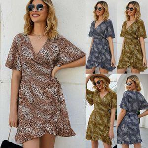 Primavera 2020 Mulheres Sexy Bohemian V-Neck Leopard Print Dress