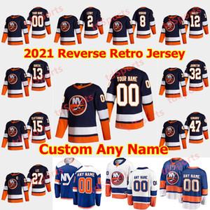 뉴욕 ishanders 2021 Reverse Retro Hockey Jersey 13 Mathew Barzal Jersey Anders Lee Matt Martin Josh Bailey Cal Clutterbuck 맞춤형 스티치