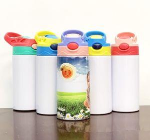 12oz 승화 스트레이트 sippy 컵 350 ml 빈 흰색 어린이 물병 휴대용 스테인레스 스틸 어린이 6colors에 대 한 텀블러