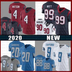 4 Deshaun Watson American Football Jersey 9 Matthew Stafford 20 Barry Sanders 90 J.J. WATT 99 T.J. Hockenson 88 Jadeveon Clowney Jerseys