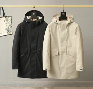New men steeds hooded wind in the warm coat long down jacket