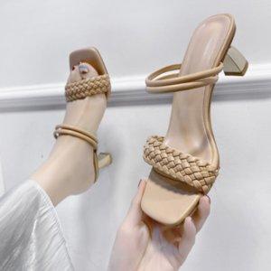 pfxx7 dois e desgaste 2021 verão novo uma palavra sandálias de salto alto estilo de fada especiais salto especial sandálias quadradas simples mulheres sapatos