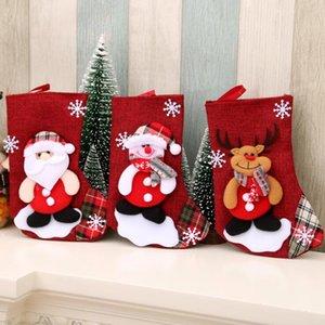 Calze di Natale Borsa regalo Snowman Santa Claus Stampa Candy Regalo Decorazioni Borse da regalo Titolari Xmas Socks Appeso Ornamenti Decorazioni natalizie GWC4168
