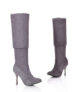 Morazora más Tamaño 34-43 Nuevos zapatos de moda sobre las botas de la rodilla Mujeres altas tacones altos otoño puntiagudo toe flock negro delgado botas altas