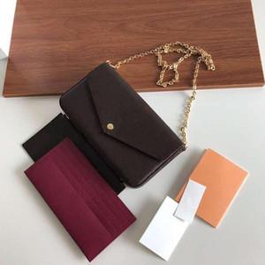 O melhor design de luxo de qualidade feminino três peça cadeia bolsa bolsa de ombro bolsa de mão messenger bolsa com caixa livre frete