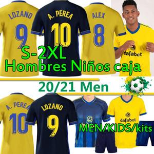 2020 2021 Cadiz Futebol Jerseys Homens Kit Adult Sets Kids 20 21 Cádiz CF Alex Lozano Nano Alejo Mari Perea Salvi Camisas de Futebol Fardos