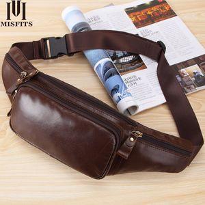Men's Leather Crossbody Bag Waterproof travel Anti-theft waist bag Large Capacity Hiking Cell Phone Pocket