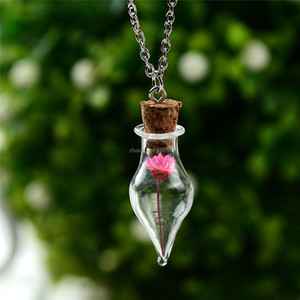 Dried Flower Cone Wishing Bottles Necklaces women glass plant necklaces fashion jewelry Christmas gift will and sandy new
