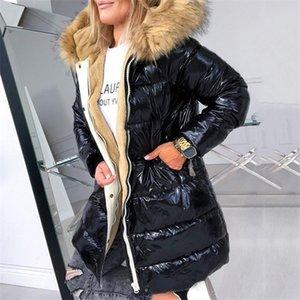 Fashion Fur Collar Cotton Padded Jacket Women Winter Coat Black Hood Fleece Warmness 4XL Women's Coats Plus Size Parkas Outwear 201120