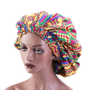 Hot Selling Latest Sleeping Soft Bonnet Large Size Satin Lined Double Layer Ankara African Pattern Head Wrap Hat Shower Caps F1222