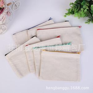 blank canvas zipper Pencil cases pen pouches cotton cosmetic Bags makeup bags Mobile phone clutch bag organizer SL6092 Z1123