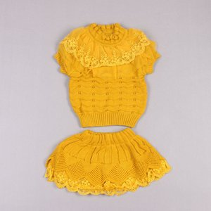 Clearance sale autumn winter lace girls suits knitted sweater girls outfits pullover sweater+skirts 2pcs set kids suits Z220