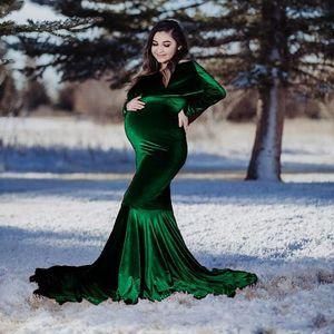 Winter Green Velvet Long Sleeves Ruffles Party Sleepwear Custom Made Nightgown Robes Puffy Skirt Photography Boudoir Paja
