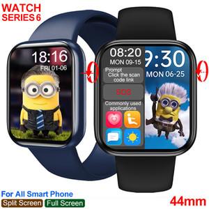 Smart uhr männer frauen serie 6 44mm iwo hw16 passwort sperren voll touchbildschirm benutzerdefinierte bild bluetooth call blutdruck smartwatch pk w26