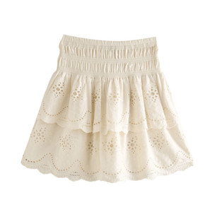 Kpytomoa Donna 2020 Chic Fashion Cutwork Embroidery Mini Gonna Vintage High Elastic Waist Ruffled Femminile Gonne Faldas Mujer Q1209