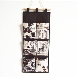 Six-Pocket British Style Cotton And Linen Storage Hanging Bag Wall-Mounted Home Wardrobe Debris Storage Bag