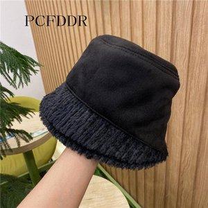 PCFDDR O novo chapéu de bacia pode ser usado no outono e inverno com chapéu coreano de balde e cordeiro quente.
