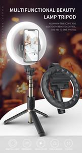4 في 1 Selfie LED الدائري ضوء اللاسلكية بلوتوث سيلفي عصا ميني ترايبودز محمولة تمديد صورة شخصية مع جهاز التحكم عن بعد