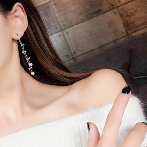 Tassels Long Earrings Rhinestone Crystal Bow Tie Charm Ear Studs Imitation Pearl Silver Plating Alloy Statement Eardrop 3 86ly L2