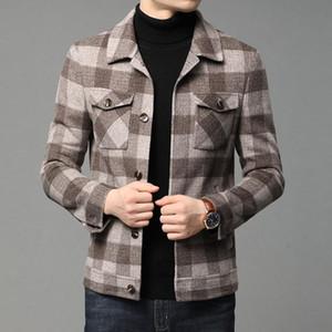 Men's wear autumn   winter 2020 new woolen coat men's short plaid Lapel long sleeve Korean youth jacket for men