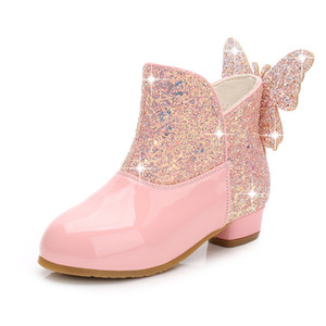 2019 New Girls Leather Boots Kids High Heels Girl Shoes Autumn Winter Princess Party Wedding Shoes Glitter Ankle Boots For Girls Y1117