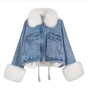 NEWDISCVR European And American Denim Jacket 2020 New Detachable Loose Large Fur Collar Plus Velvet Denim Jacket
