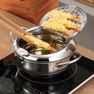Pote de fritura profunda japonesa con un termómetro y una tapa 304 Accesorios de acero inoxidable Accesorios de cocina de utensilios de cocina Tempura Fryer Pan 20 24 cm